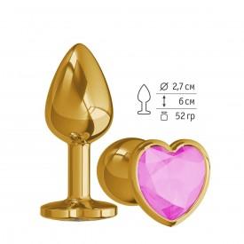 Золотистая анальная втулка с розовым кристаллом-сердцем - 7 см.